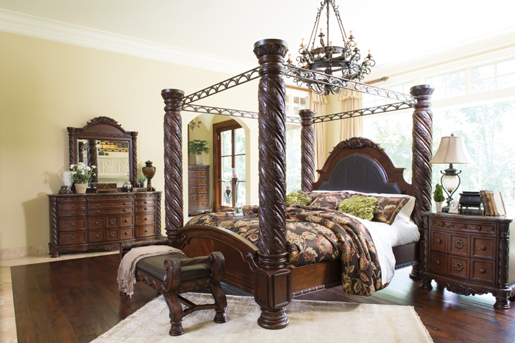 Ashley Furniture North Shore Poster Bed decorative posts and